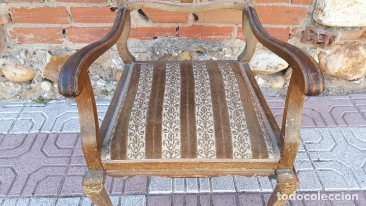 Antigüedades: Silla descalzadora antigua estilo isabelino o Luis XV, sillón descalzador antiguo, años 40. - Foto 4 - 135168538