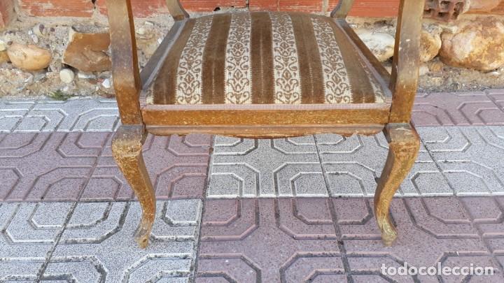 Antigüedades: Silla descalzadora antigua estilo isabelino o Luis XV, sillón descalzador antiguo, años 40. - Foto 5 - 135168538
