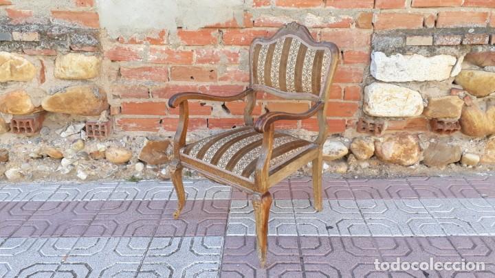 Antigüedades: Silla descalzadora antigua estilo isabelino o Luis XV, sillón descalzador antiguo, años 40. - Foto 8 - 135168538