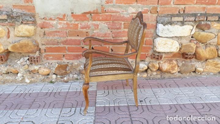Antigüedades: Silla descalzadora antigua estilo isabelino o Luis XV, sillón descalzador antiguo, años 40. - Foto 9 - 135168538