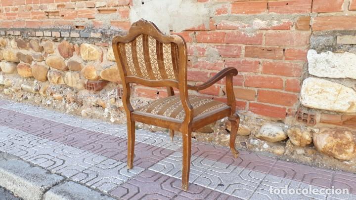 Antigüedades: Silla descalzadora antigua estilo isabelino o Luis XV, sillón descalzador antiguo, años 40. - Foto 10 - 135168538