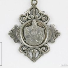 Antigüedades: ANTIGUA MEDALLA RELIGIOSA DE PLATA - VIRGEN DE LA MISERICORDIA, REUS / RECUERDO MISERICORDIA, S. XIX. Lote 135188950