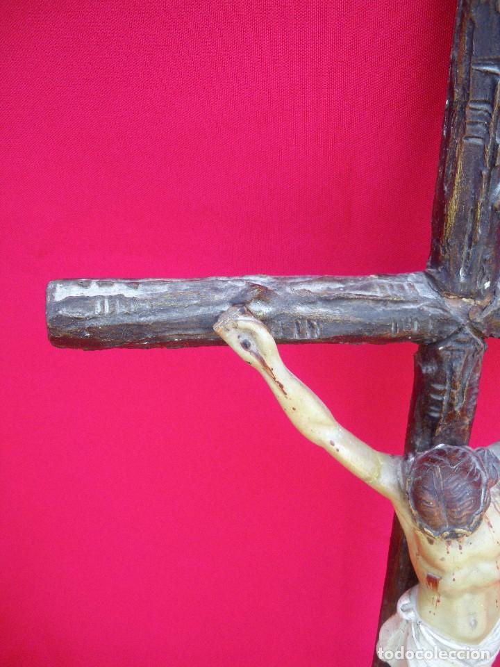 Antigüedades: Crucifijo de olot policromado. - Foto 6 - 135194434