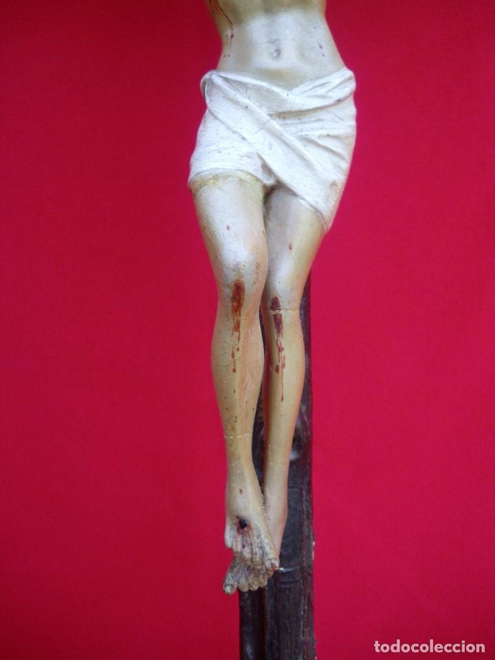 Antigüedades: Crucifijo de olot policromado. - Foto 8 - 135194434