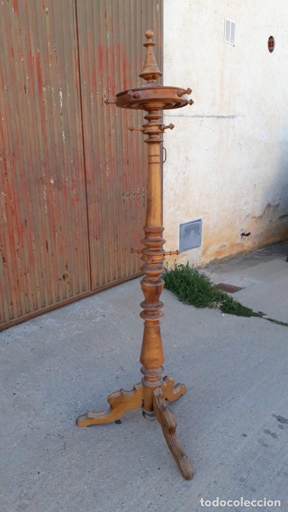 Antigüedades: Perchero de pié antiguo estilo Luis Felipe. Mueble auxiliar perchero gabanero antigo biedermeier. - Foto 2 - 135205150