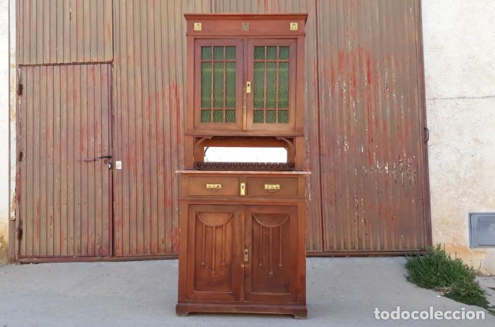 Antigüedades: Vitrina antigua estilo modernista art decó mueble auxiliar aparador chinero antiguo, alacena vintage - Foto 2 - 135210714