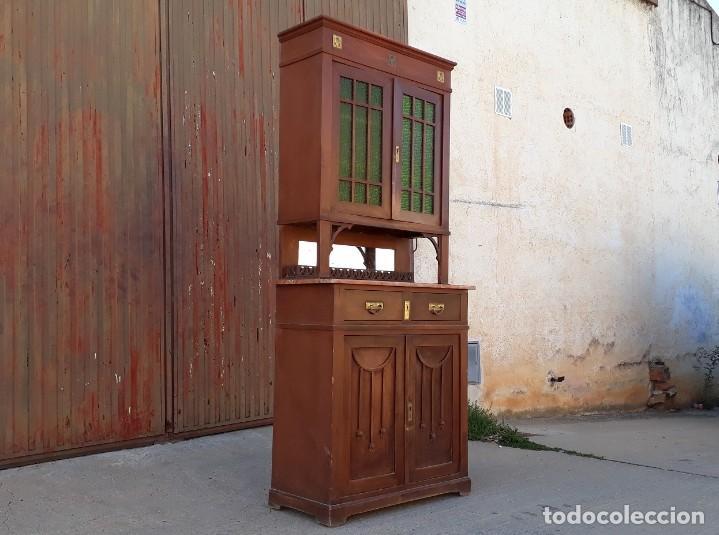 Antigüedades: Vitrina antigua estilo modernista art decó mueble auxiliar aparador chinero antiguo, alacena vintage - Foto 3 - 135210714
