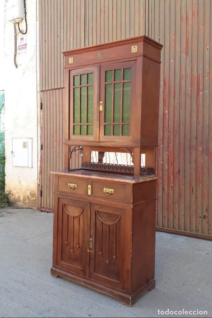 Antigüedades: Vitrina antigua estilo modernista art decó mueble auxiliar aparador chinero antiguo, alacena vintage - Foto 5 - 135210714