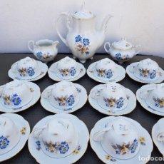 Antigüedades: JUEGO ANTIGUO DE CAFE EN PORCELANA SELLADA. Lote 135260030