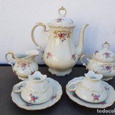 Antigüedades: JUEGO ANTIGUO DE CAFE EN PORCELANA ( TU Y YO ) BAVARIA SELLADO. Lote 135266442