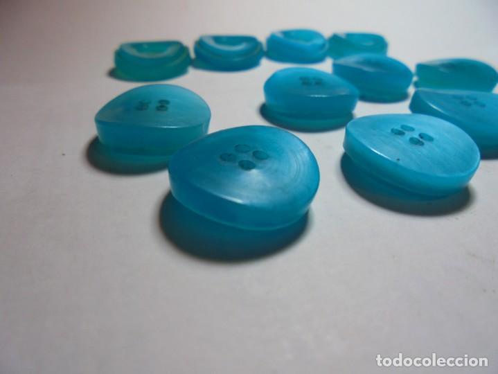 Antigüedades: magnificos 12 botones antiguos vintage años 50-60 azul turquesa avalados - Foto 3 - 135287030