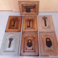 Antigüedades: COLECCION DE LLAVES Y CANDADOS 7 PIEZAS AUTENTICAS, 3 CANDADOS Y 4 LLAVES ANTIGUAS. Lote 135308782