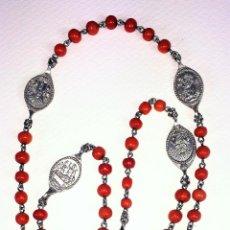Antigüedades: ROSARIO DE LOS 7 DOLORES DE LA VIRGEN. DE TIPO DE PEREGRINACIÓN. CORAL. PLATA. ESPAÑA. XIX. Lote 135316614