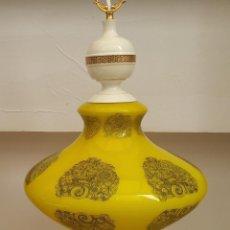 Antigüedades: LAMPARA DE OPALINA AMARILLO LIMÓN SERIGRAFIADA DE LOS 60/70 RESTAURADA. Lote 135319410