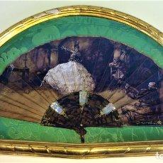 Antigüedades: ABANICO DE DAMA. CAREY TALLADO. NÁCAR. PAISAJE PINTADO AMANO SOBRE TELA. ESPAÑA. 1920. Lote 135337442