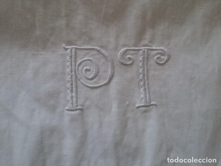 Antigüedades: ANTIGUAS SÁBANAS-ARTESANAL-ALGODÓN-ALMOHADÓN Y SÁBANA. - Foto 9 - 135358562