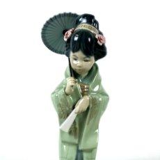 Antigüedades: FIGURA JAPONESA. PORCELANA ESMALTADA. LLADRÓ. ESPAÑA. SIGLO XX.. Lote 135388314