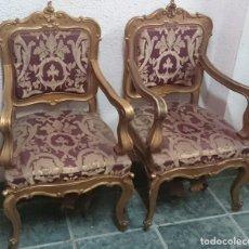 Antigüedades: SILLÓN DE MADERA DORADO DE MADERA DE PINO. PIEZA ESPECIAL. Lote 135396046