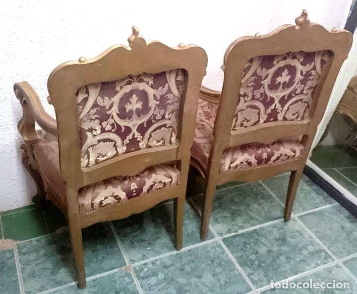 Antigüedades: sillón de madera dorado de madera de pino. Pieza especial - Foto 2 - 135396046
