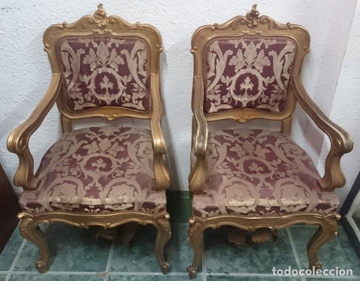 Antigüedades: sillón de madera dorado de madera de pino. Pieza especial - Foto 3 - 135396046
