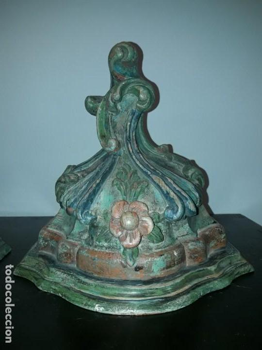Antigüedades: Pareja mensuales talla madera - Foto 2 - 135427410