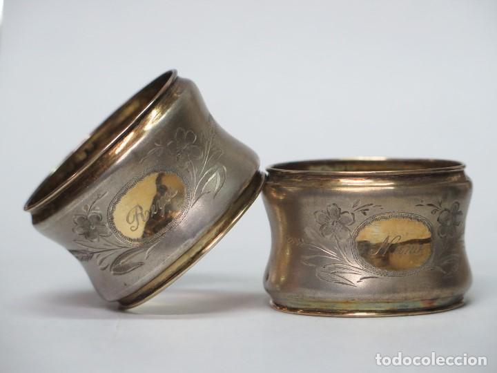 BONITA PAREJA DE SERVILLETEROS DE PLATA Y PLATA DORADA. SIGLO XIX (Antigüedades - Platería - Plata de Ley Antigua)