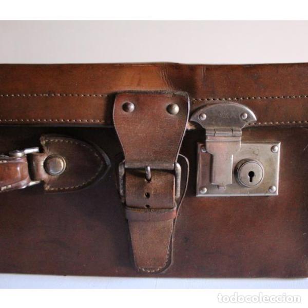 Antigüedades: Antigua maleta de cuero - Foto 2 - 135447518