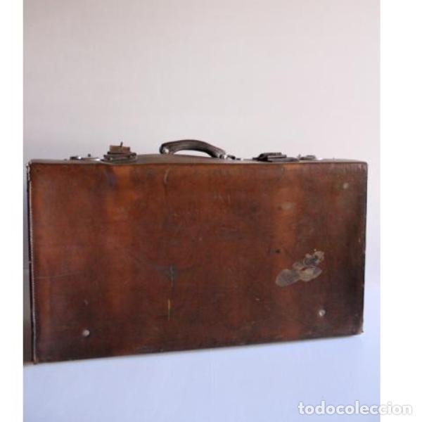Antigüedades: Antigua maleta de cuero - Foto 5 - 135447518