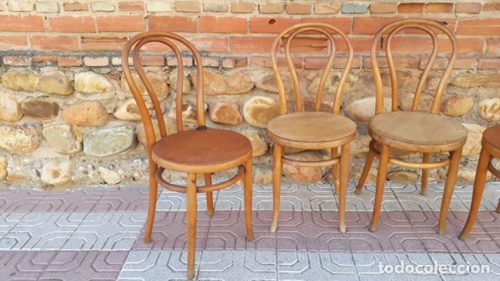 Antigüedades: Cuatro sillas antiguas estilo thonet originales Jacob & Josef Kohn Wien etiquetas silla antigua - Foto 4 - 135485342