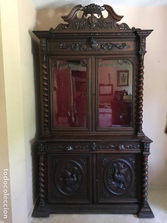 Antigüedades: ARMARIO VITRINA MADERA TALLADA - Foto 8 - 135495746