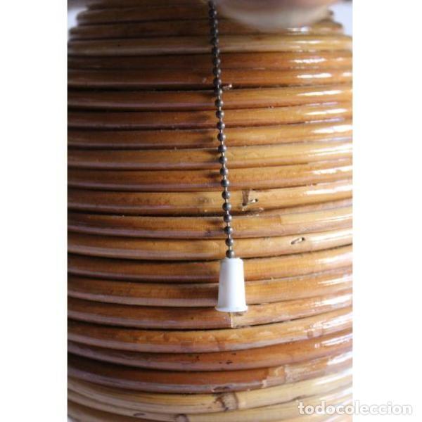 Antigüedades: Antigua lámpara de mimbre - Foto 3 - 135507434