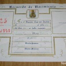 Antigüedades: RECUERDO DE NACIMIENTO.1949.. Lote 135578958