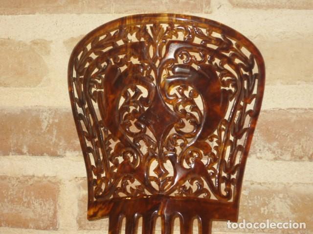 Antigüedades: PEINETA O TEJA CALADA,SIMIL CAREY? - Foto 5 - 179397483
