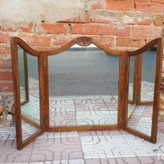 Antigüedades - Espejo tríptico de madera, espejo antiguo para tocador - 135615034