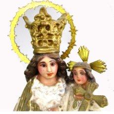 Antigüedades: PRECIOSA VIRGEN DE LOS DESAMPARADOS CON NIÑO DOBLE CORONA LATON DORADO ESTUCO SOBRE MADERA . Lote 135619018