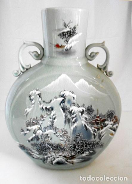 Antigüedades: JARRÓN CON ASAS DE PORCELANA CRAQUELADA JAPONESA ESCENA PAISAJE - Foto 3 - 135621594