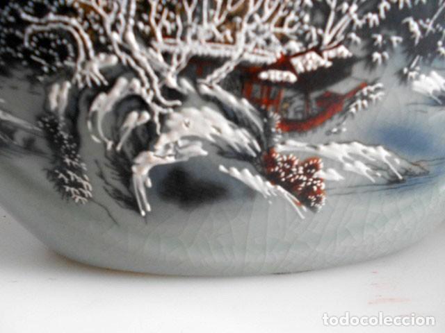Antigüedades: JARRÓN CON ASAS DE PORCELANA CRAQUELADA JAPONESA ESCENA PAISAJE - Foto 9 - 135621594