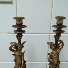 Antigüedades: PAREJA DE CANDELABROS .- CALAMINA ALTURA 41 CM.. Lote 135641453