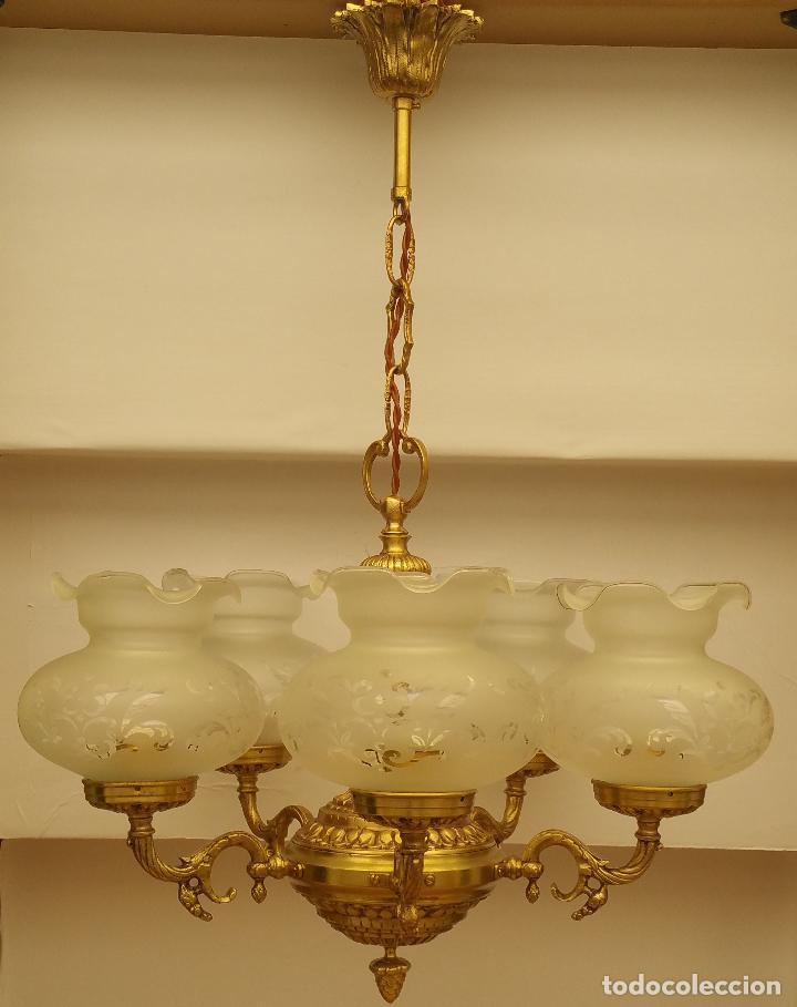 de tulipas cristal de brazos dibujos 5 al acido bronce con fundición de de con de lampara techo D2YEIH9W