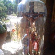 Antigüedades: PRECIOSO FANAL ISABELINO CON CALVARIO SIGLO XIX. Lote 135692115