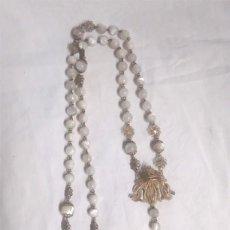 Antigüedades: ROSARIO ISABELINO AVE MARIA CUENTAS DE NACAR S XIX, DE PLATA BAÑO DE ORO. MED. 59 CM. Lote 135706299