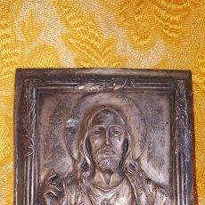 Antigüedades: PLACA PARA PUERTA DEL SAGRADO CORAZÓN DE JESÚS. Lote 135789715