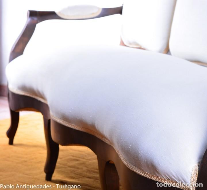 Antigüedades: Sofá isabelino restaurado - Tapicería en color blanco - Sofá antiguo madera posiblemente de frutal - Foto 6 - 135791194
