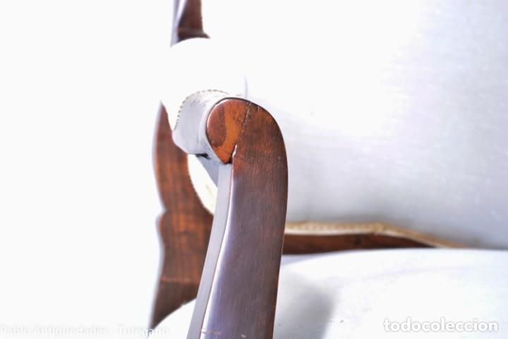 Antigüedades: Sofá isabelino restaurado - Tapicería en color blanco - Sofá antiguo madera posiblemente de frutal - Foto 8 - 135791194