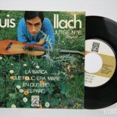 Discos de vinilo: DISCO EP DE VINILO - LLUIS LLACH / JUTGE Nº 16 - CONCENTRIC - AÑO 1967 - FOLLETO CANCIONES. Lote 135805585
