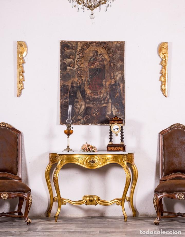 CONSOLA ANTIGUA EN PAN DE ORO (Antigüedades - Muebles Antiguos - Consolas Antiguas)