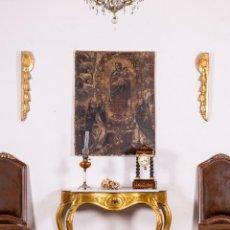 Antigüedades: CONSOLA ANTIGUA EN PAN DE ORO. Lote 135808250