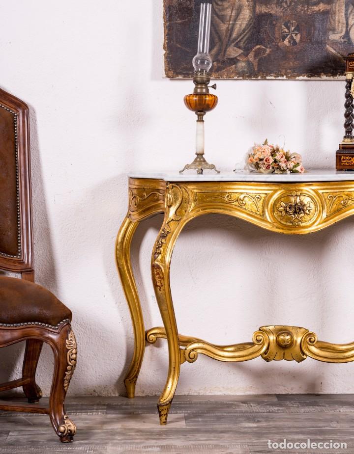 Antigüedades: Consola Antigua En Pan De Oro - Foto 2 - 135808250