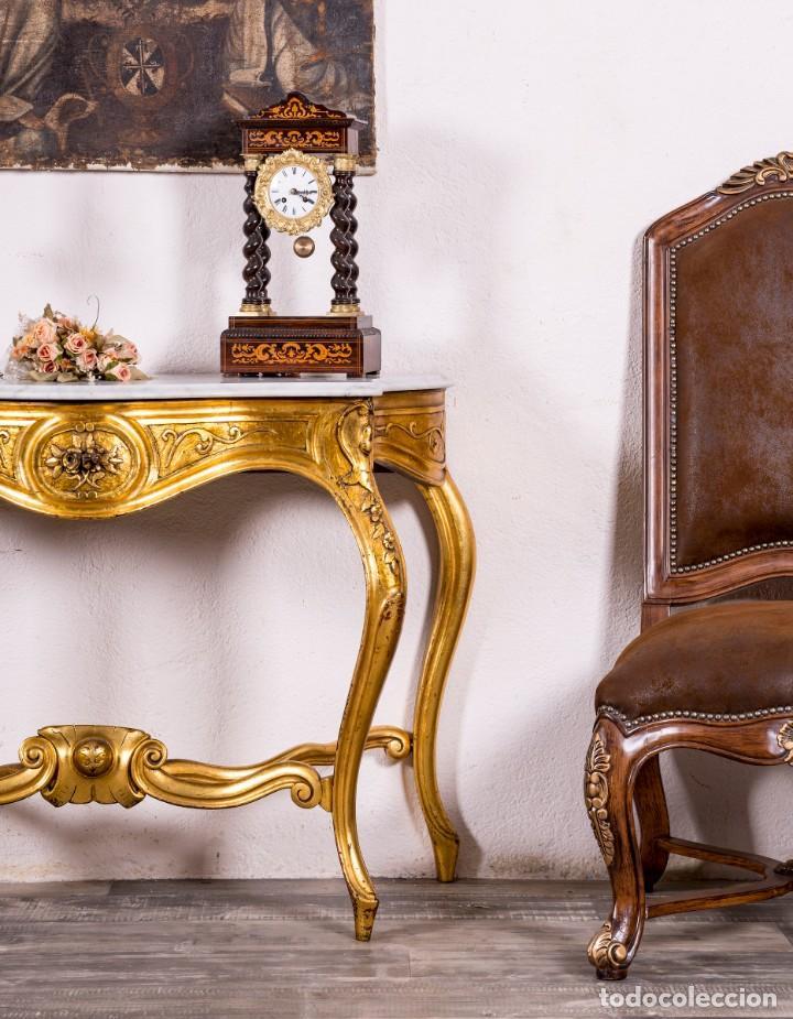 Antigüedades: Consola Antigua En Pan De Oro - Foto 3 - 135808250