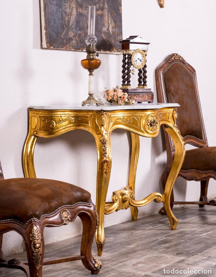 Antigüedades: Consola Antigua En Pan De Oro - Foto 4 - 135808250